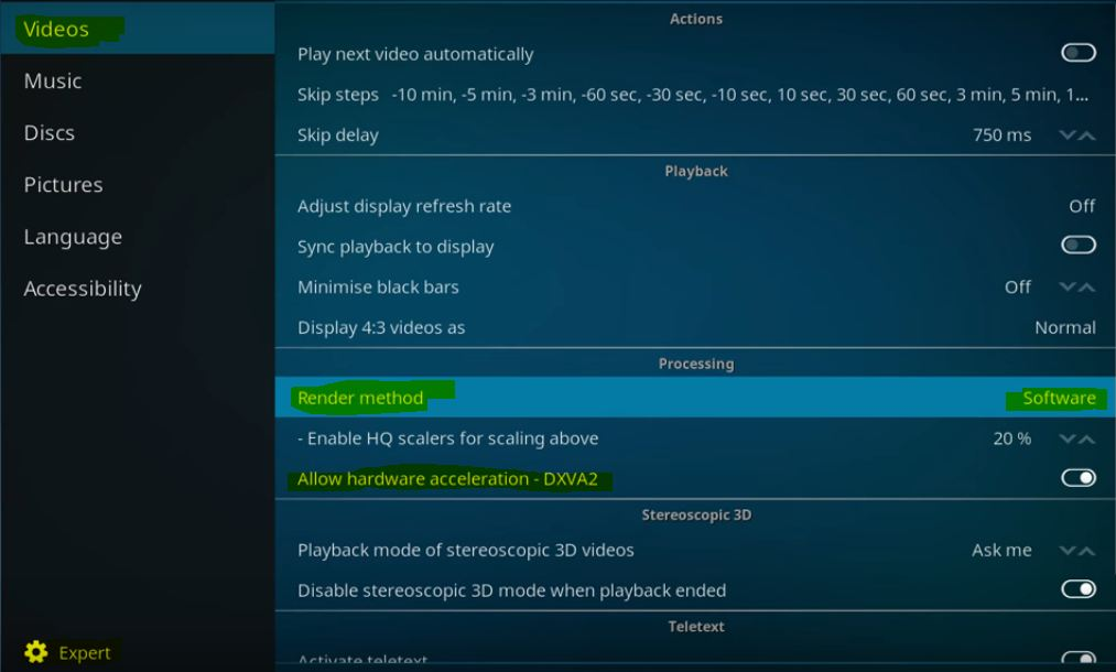 Video Player Settings